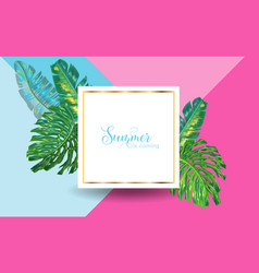 Hello summer tropical design with palm leaves vector