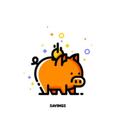 icon of piggy bank and falling coin for budget vector image