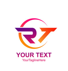 initial letter rt logo template colorful circle vector image