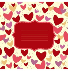 Invitation card with heart on white background vector