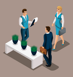 Isometric bank managers meet the client the vector