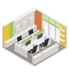 isometric office room icon vector image vector image