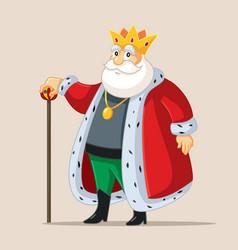 King holding golden scepter vector