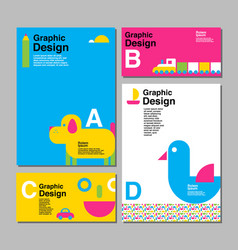 Layout design template cover book colorful vector