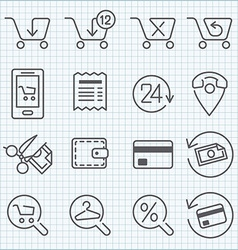 line icons set for web design and user interface vector image