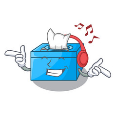 Listening music cartoon tissue box on a sideboard vector