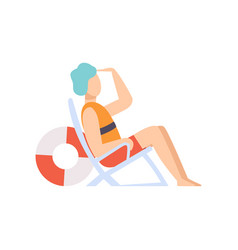 Male lifeguard sitting in a chair looking into the vector