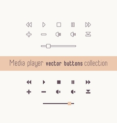 Media player linear icons collection vector image