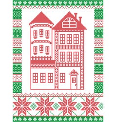 nordic christmas pattern with gingerbread house vector image