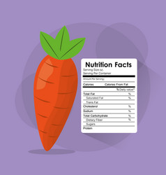 Nutrition facts carrot label content template vector
