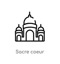 Outline sacre coeur icon isolated black simple vector