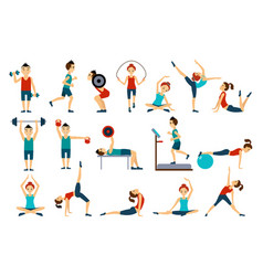 People in gym set workout man and woman vector
