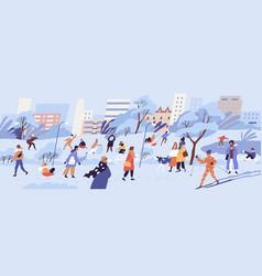 people walking in park men women and children vector image