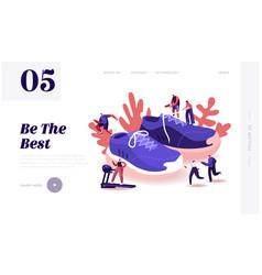 People wearing sneakers website landing page vector