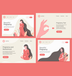 pregnancy and maternity landing page set vector image