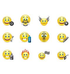 racing equipment smiles icons set vector image