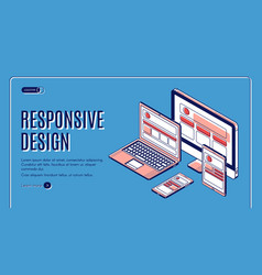 responsive design landing page construction banner vector image