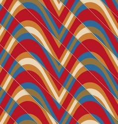 Retro 3D bulging red and blue waves diagonally cut vector