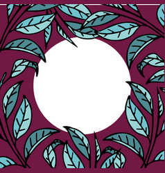 Round frame from tea leaves vector