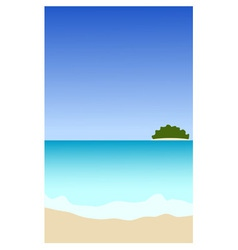 Seascape with island vector