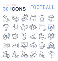 set line icons football vector image