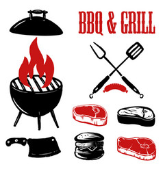 Set of hand drawn bbq and grill elements vector