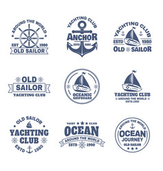Set of isolated logo with boat or ship yacht vector