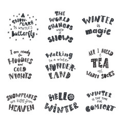 Set of winter quotes and phrases hand drawn vector