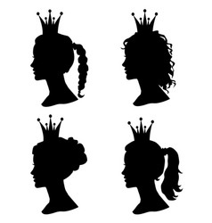 Set of woman head profile silhouettes with crown vector