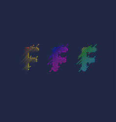 several variants one letter f latin vector image