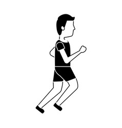 sport man running active athletic cartoon vector image