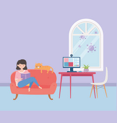 Stay at home girl reading book on sofa with cat vector