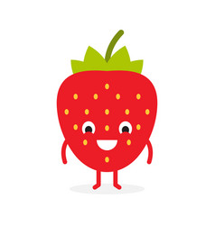 Strawberry cute fruit character vector