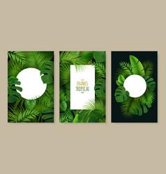 tropical leaves frames set vector image