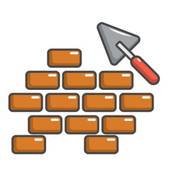 trowel and brick wall icon cartoon style vector image