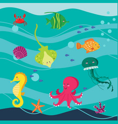 under the sea word set of animals isolated vector image