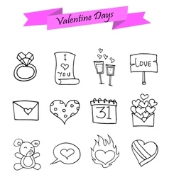 Valentine day element of icons vector image