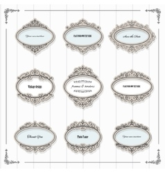 Vintage oval frames set vector