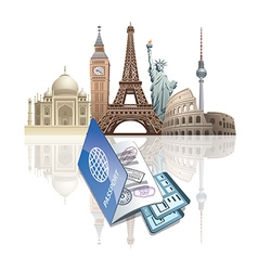 voncept of passport and tickets world landmarks vector image