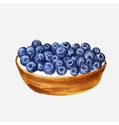 Watercolor cake with blueberries vector