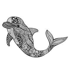 Zentangle stylized dolphin Hand Drawn aquatic vector