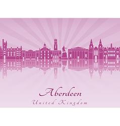 Aberdeen skyline in purple radiant orchid vector image vector image