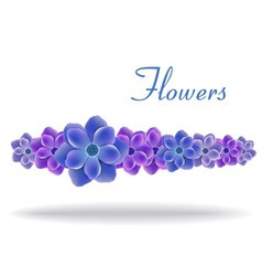 blue and purple flowers with leaves vector image