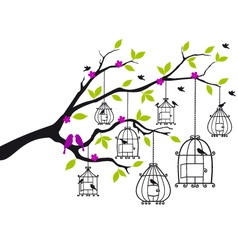 free birds and open birdcages vector image vector image