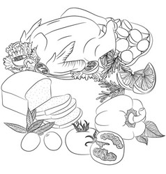 line art fried chicken and vegetables vector image vector image