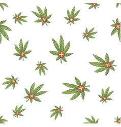 Seamless texture medical marijuana four vector