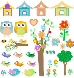 Set birds with birdhouses owls trees and flowers vector image vector image