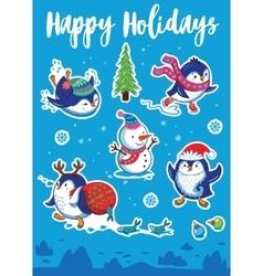 Snow sticker set with cartoon penguins snowman vector image vector image