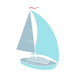 yacht with sail vector image