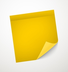 Blank yellow sticker with bending corner vector image vector image